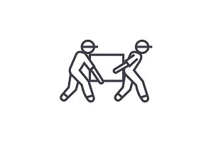 deliverymen,box taking vector line icon, sign, illustration on background, editable strokes