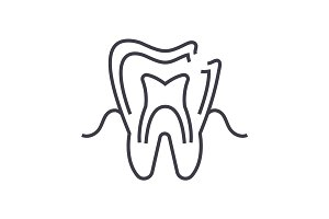 dental caries vector line icon, sign, illustration on background, editable strokes