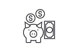 deposit insurance,pig with money vector line icon, sign, illustration on background, editable strokes