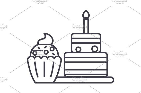 Dessert Vector Line Icon Sign Illustration On Background Editable Strokes