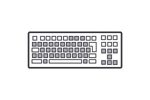 detailed keyboard vector line icon, sign, illustration on background, editable strokes