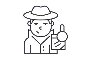 detective vector line icon, sign, illustration on background, editable strokes