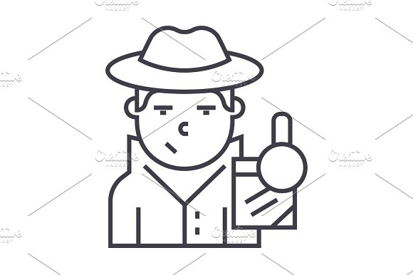 Detective Vector Line Icon Sign Illustration On Background Editable Strokes