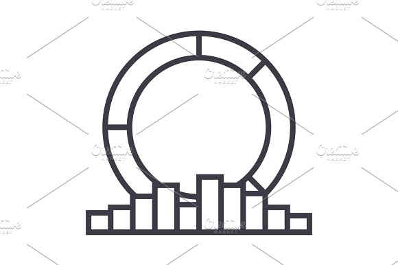 Diagram With Medal Vector Line Icon Sign Illustration On Background Editable Strokes