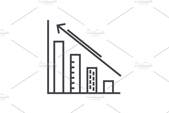 Diagram Down And Up Charts Vector Line Icon Sign Illustration On Background Editable Strokes