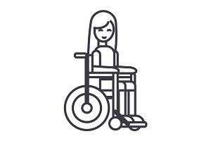 disabled girl in wheelchair vector line icon, sign, illustration on background, editable strokes