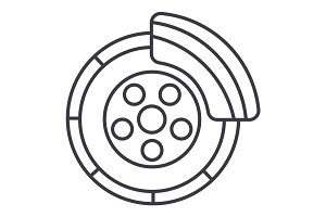 disc brake,car service vector line icon, sign, illustration on background, editable strokes