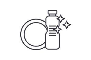 dish washing,dishwashing detergent vector line icon, sign, illustration on background, editable strokes
