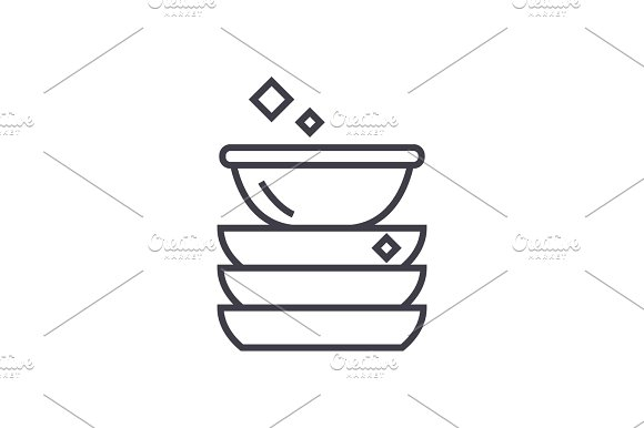 Dishes Vector Line Icon Sign Illustration On Background Editable Strokes