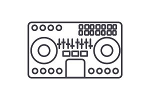 dj mixer,mixing music,party,techno vector line icon, sign, illustration on background, editable strokes