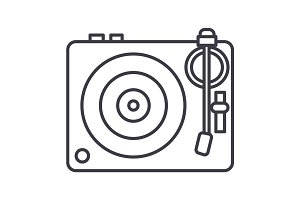 dj, vinyl,turntable vector line icon, sign, illustration on background, editable strokes