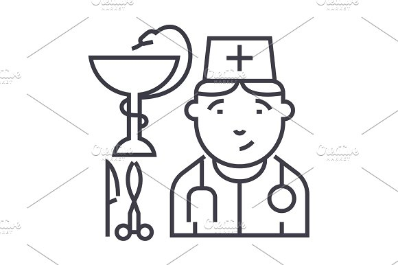 Doctor Sign Vector Line Icon Sign Illustration On Background Editable Strokes
