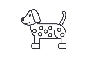 dog, dalmatian vector line icon, sign, illustration on background, editable strokes