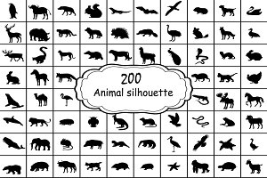 Set 200 silhouettes animals