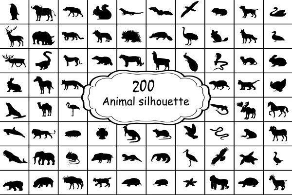 Set 200 silhouettes animals