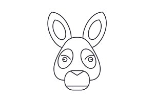 donkey head vector line icon, sign, illustration on background, editable strokes
