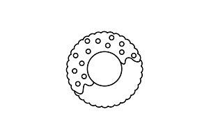 donut vector line icon, sign, illustration on background, editable strokes