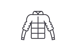 down jacket vector line icon, sign, illustration on background, editable strokes