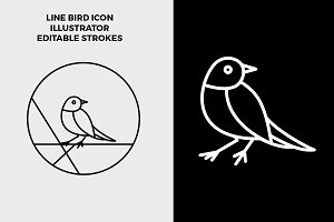 Line Bird Circle Logo / Icon