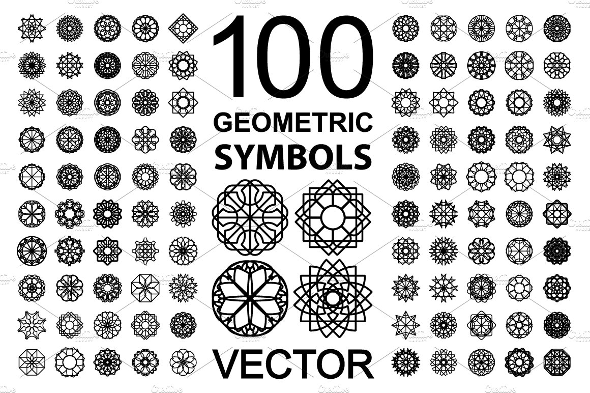 100 geometric symbols objects creative market buycottarizona Image collections