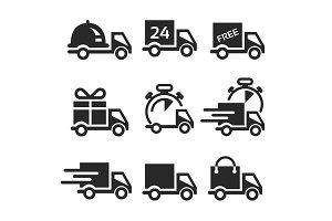 Vector icon set delivery car