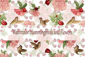 Watercolor Hummingbirds and Flowers