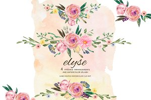 Watercolor Florals & Splash Clip Art