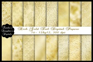 Gold Foil Elegant Rich Digital Paper