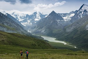 Man trail running in the mountain in Altai, Russia