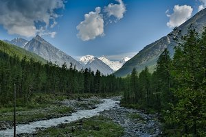 mountain river at the foot of the Belukha mountain, Altai Mountains, Russia