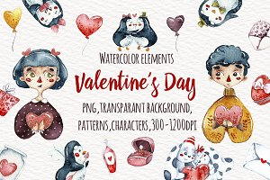Watercolor Valentine's Day
