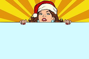 Santa girl with copy space poster