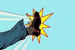 businessman kicking, pop art foot