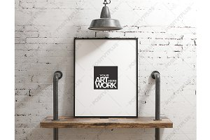 Poster Mockup Industrial pipe shelve