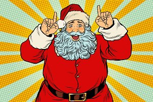 Santa Claus pointing finger up