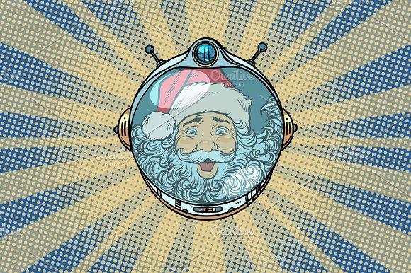 Space helmet with Santa Claus astronaut