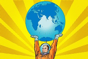 Retro astronaut is holding the planet Earth