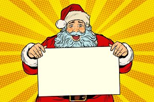 Joyful Santa Claus with poster template