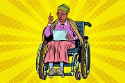 elderly African woman disabled person in a wheelchair, gadget ta