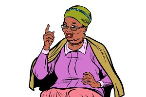 African elderly woman pointing finger up, isolate on white backg