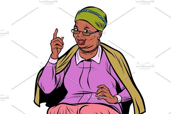African elderly woman pointing finger up, isolate on white backg