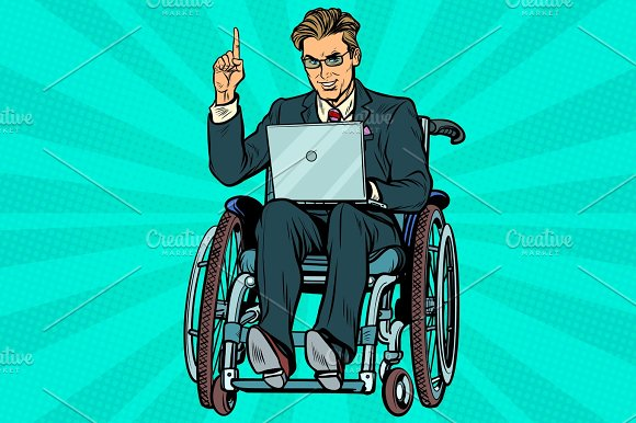 businessman in wheelchair with laptop in Illustrations