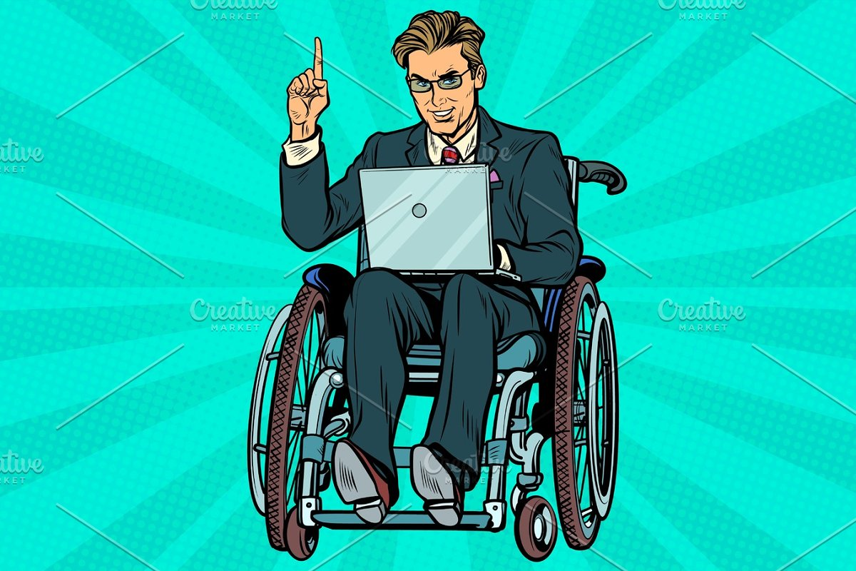 businessman in wheelchair with laptop in Illustrations - product preview 8