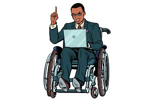 African businessman in wheelchair isolated on white background