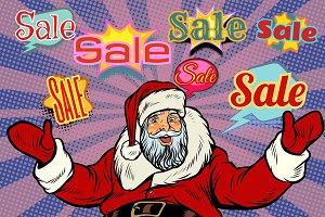 Christmas sale background with Santa Claus