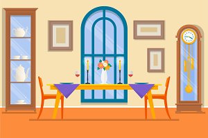 Restaurant or dining room interior.Dining table for date with glasses of wine, flowers and chairs and sideboard. Vector illustration.