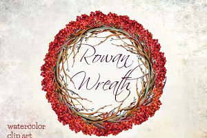 Rowan wreath watercolor clip art