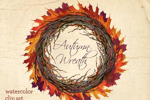 Autumn wreath watercolor clip art