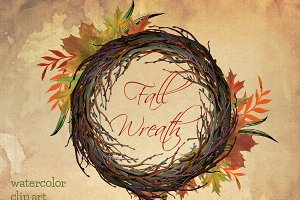 Fall wreath watercolor clip art