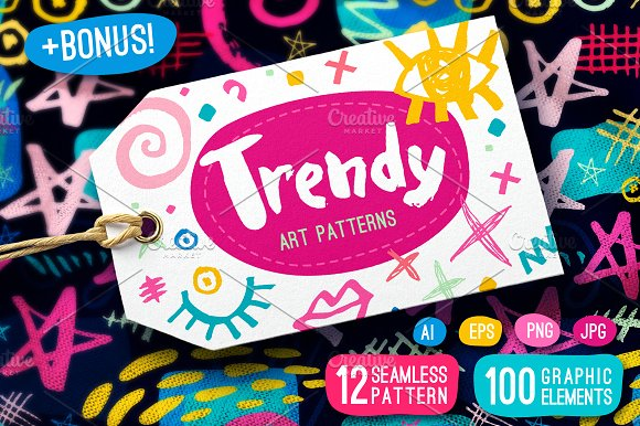Trendy Art Patterns-Graphicriver中文最全的素材分享平台